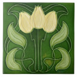 """Art Nouveau Ceramic Tile-Vintage Look White Tulips Ceramic Tile<br><div class=""""desc"""">Tiles are suitable for kitchens,  bathrooms,  showers,  walls & splash backs.  Any questions about this design leave me a message via 'chat'</div>"""