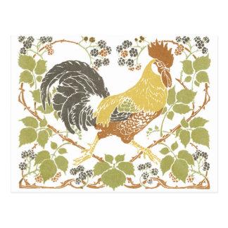 Art Nouveau Chickens Postcard