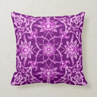 Art Nouveau Chinese Pattern - Amethyst Purple Throw Pillow