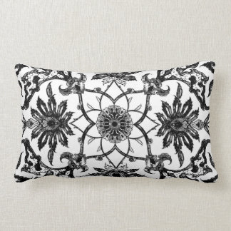 Art Nouveau Chinese Pattern - Black and White Pillow