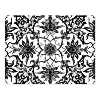 Art Nouveau Chinese Pattern - Black and White Postcard