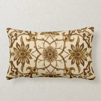 Art Nouveau Chinese Pattern - Brown and Beige Throw Pillow