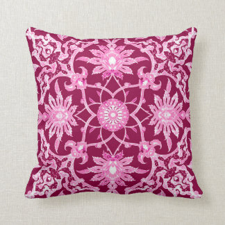 Art Nouveau Chinese Pattern - Burgundy Wine Throw Pillow