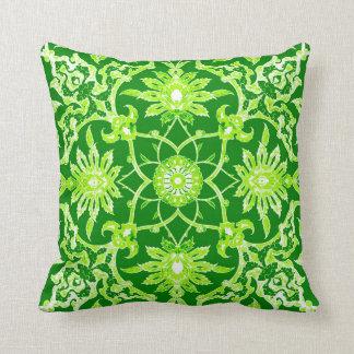Art Nouveau Chinese Pattern - Emerald Green Pillow
