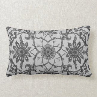 Art Nouveau Chinese Pattern - Silver Grey Throw Pillow