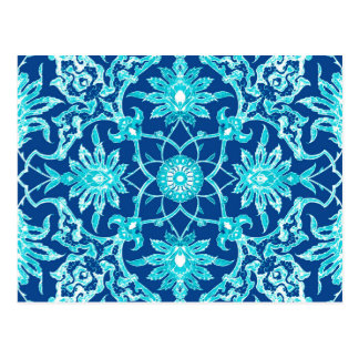 Art Nouveau Chinese Pattern - Turquoise and Blue Postcard