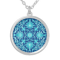 Art Nouveau Chinese Pattern - Turquoise and Blue Silver Plated Necklace