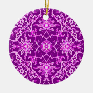 Art Nouveau Chinese Tile -  Amethyst Purple Ceramic Ornament