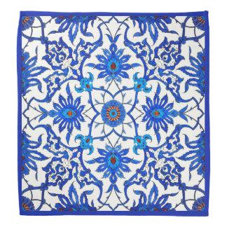 Art Nouveau Chinese Tile - Cobalt Blue & White Bandana