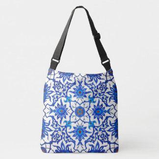 Art Nouveau Chinese Tile - Cobalt Blue & White Crossbody Bag