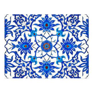 Art Nouveau Chinese Tile - Cobalt Blue & White Postcard