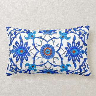 Art Nouveau Chinese Tile - Cobalt Blue & White Throw Pillow