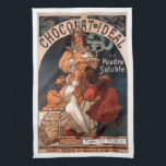 "Art Nouveau Chocolate Kitchen Towel<br><div class=""desc"">Featuring a reproduction of an illustration by famous artist,  Alfons Mucha,  of the Art Nouveau period.  Originally an advertisement for Ideal Chocolate,  it depicts a loving mother with a tray of fragrant hot chocolate,  as her children pull at her skirts asking for &quot;just a little&quot;!</div>"