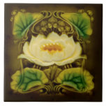"""Art Nouveau Chocolate Marsden Majolica Floral Tile<br><div class=""""desc"""">Warm chocolate brown is the perfect background for this lovely majolica art nouveau floral design tile originally produced by Marsden tile circa 1900. Nice enough to frame and hang on a wall, use as a wall tile, trivet, coaster, or place it on a small easel as an object d&#39;art. Also...</div>"""