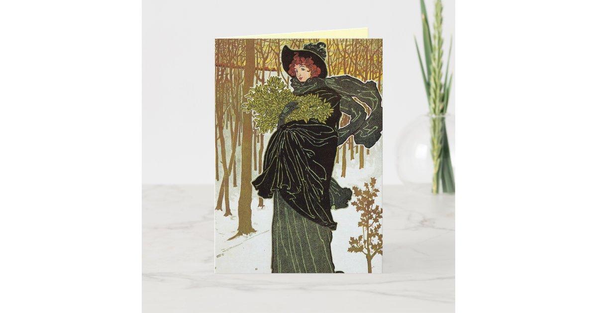 Art Nouveau Christmas Card | Zazzle.com