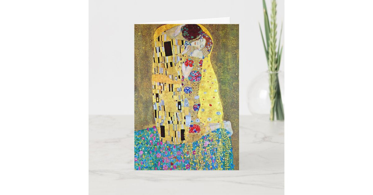 Art Nouveau Christmas, The Kiss by Gustav Klimt Holiday Card ...