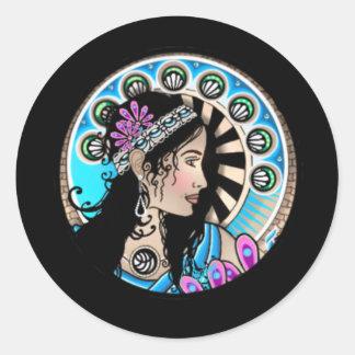 Art Nouveau Circle Painting Samaritan Woman Classic Round Sticker
