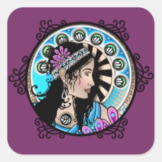Art Nouveau Circle Painting Samaritan Woman Square Sticker