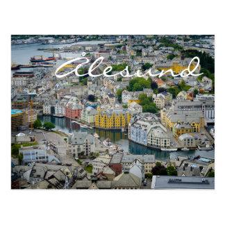 Art Nouveau city Alesund, Norway text postcard