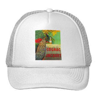Art Nouveau Cognac Ad with Peacock Trucker Hat