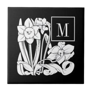Art Nouveau Daffodil Monogram Ceramic Tile