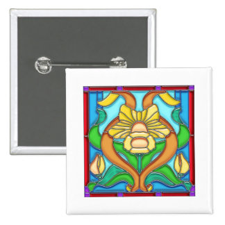 Art Nouveau Daffodil Stain Glass Frame 2 Inch Square Button