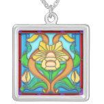 Art Nouveau Daffodil Stain Glass Frame Custom Necklace