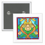 Art Nouveau Daffodil Stain Glass Frame Pins
