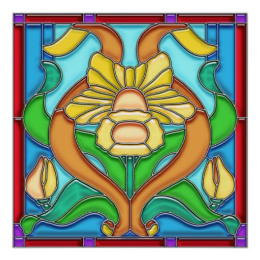 Art Nouveau Daffodil Stain Glass Frame Poster