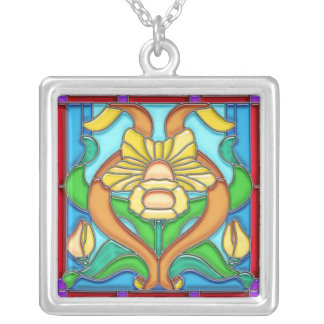 Art Nouveau Daffodil Stain Glass Frame Square Pendant Necklace