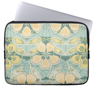 art nouveau dainty vintage floral pattern laptop sleeve