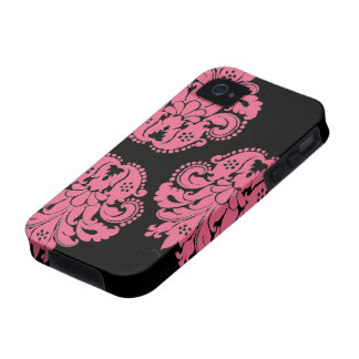 Art nouveau damask honeysuckle pink floral Case-Mate iPhone 4 cases