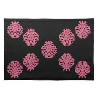 Art nouveau damask honeysuckle pink floral cloth placemat