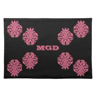 Art nouveau damask honeysuckle pink floral placemat