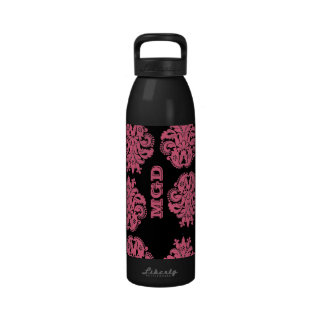 Art nouveau damask red with monogram drinking bottle