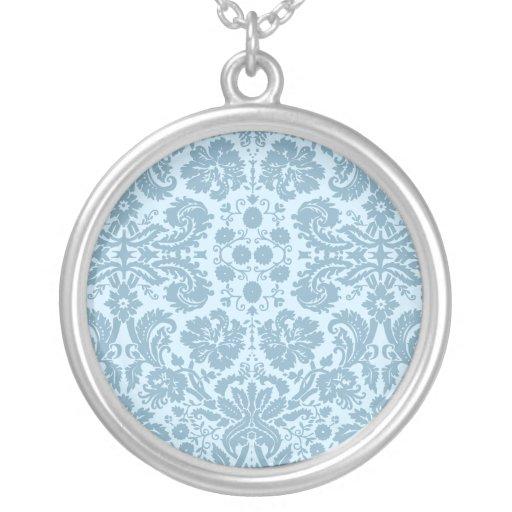 Art nouveau damask turquoise floral design necklaces