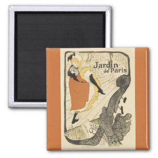 Art Nouveau Dancer Jane Avril, Toulouse Lautrec 2 Inch Square Magnet