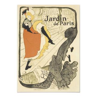 """Art Nouveau Dancer Jane Avril, Toulouse Lautrec 5"""" X 7"""" Invitation Card"""