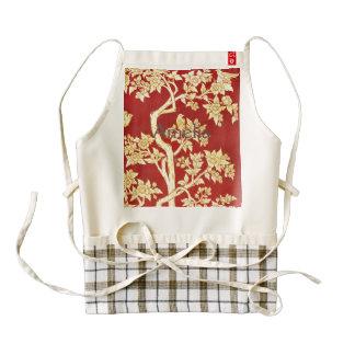 art nouveau,deco,asian,gold,red,vintage,rustic,flo zazzle HEART apron