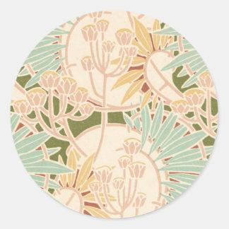 art nouveau decorative foliage floral classic round sticker