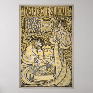 Art Nouveau Delftsche Slaolie Delft Salad Oil Poster