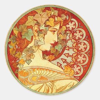 Art Nouveau design Round Stickers