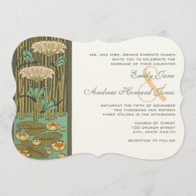 Art Nouveau Dragonfly dark font RGB HexCode 4C5A49 Invitation