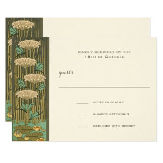 Art Nouveau Dragonfly Lilypad Response Card