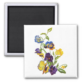 Art Nouveau Embroidered Pansies 2 Inch Square Magnet