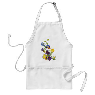 Art Nouveau Embroidered Pansies Adult Apron