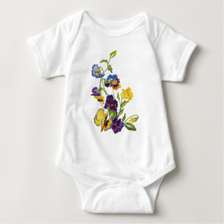 Art Nouveau Embroidered Pansies Baby Bodysuit