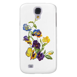 Art Nouveau Embroidered Pansies Samsung Galaxy S4 Case