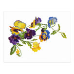 Art Nouveau Embroidered Pansies Postcard