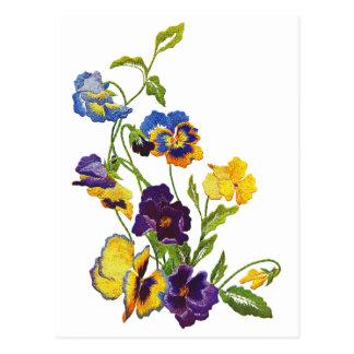 Art Nouveau Embroidered Pansies Postcard